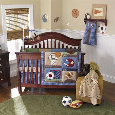 sports crib bedding blue sports infant baby boy football and baseball