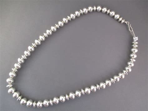 sterling silver beaded necklace sterling silver navajo pearls bead necklace jewelry by