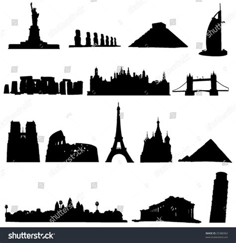 world renowned architects world renowned architecture and relics silhouette stock