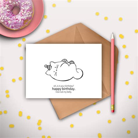 how to make a cat card cat birthday card printable instant digital