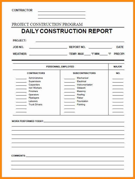 9 construction daily report template excel driver resume