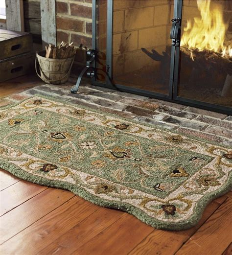 Flame Retardant Rugs by Hand Tufted Fire Resistant Scalloped Wool Mclean Hearth
