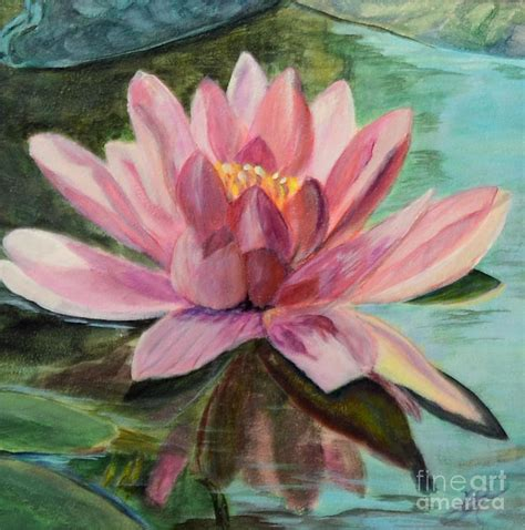 Waterlily Study In Acrylic Painting By Marlene Petersen