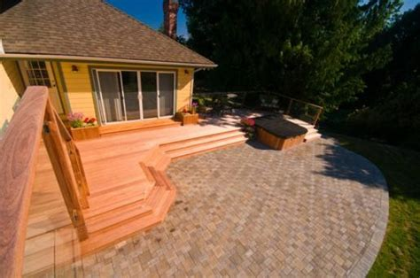 wood pavers for patio wood deck and paver patio contemporary landscape