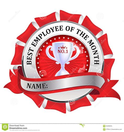 best employee of the month metallic red ribbon stock