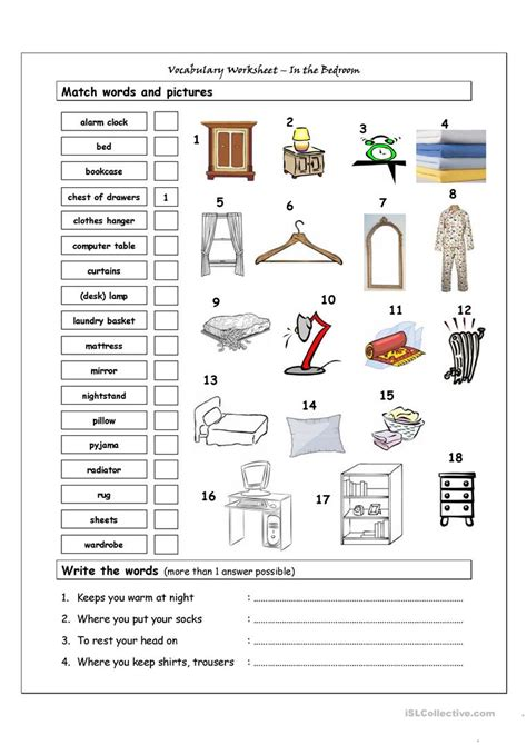 bedroom furniture vocabulary vocabulary matching worksheet in the bedroom worksheet