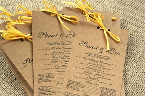 card programs rustic wedding program white card stock navy lettering