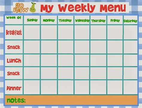 menu templates kids weekly calendar template 2016