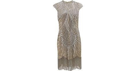 beaded fringe uk naeem khan deco beaded fringe dress in metallic lyst