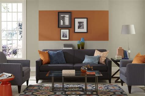 orange paint colors for living room this living room features an pop of sherwin