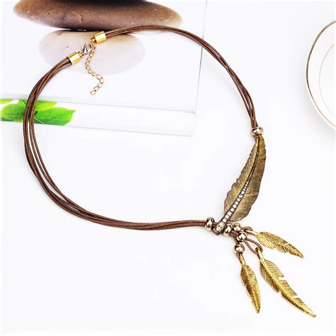 jewelry chain wholesale necklace alloy feather statement necklaces pendants