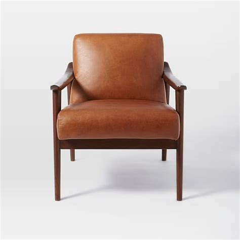 mid century leather chair mid century leather show wood chair west elm