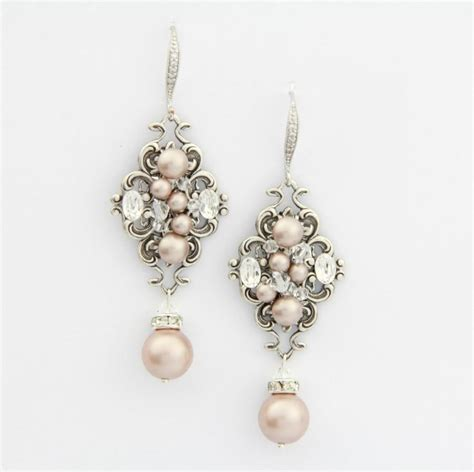 chandelier pearl earrings for wedding blush chagne pearl earrings chandelier wedding