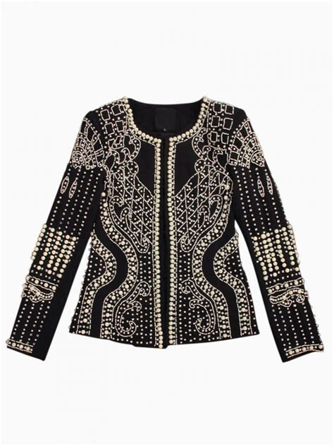 beaded blazer beaded textured blazer coat choies