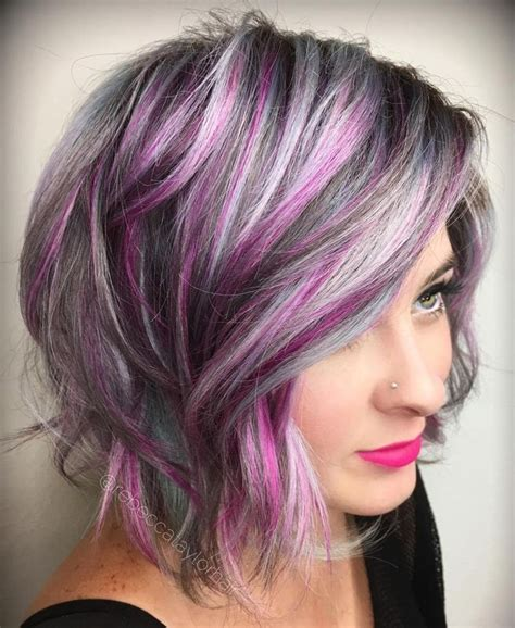 pictures of grey hairstyles with pink highlights 25 best ideas about gray highlights on pinterest gray