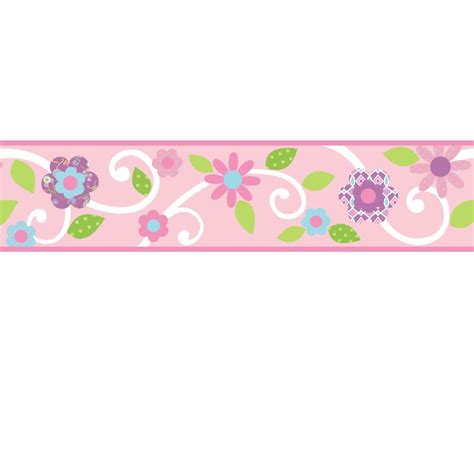 Wall Border Stickers scroll floral wall stickers border pink white stickers