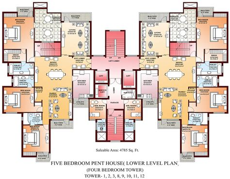 8 bedroom house floor plans floor plans 8 bedroom house5bhk penthouse lower level plan