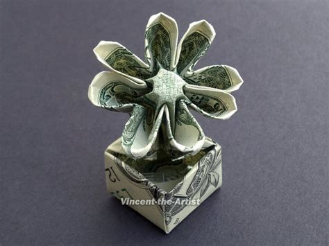 dollar bill origami flower items similar to flower in a pot dollar origami great