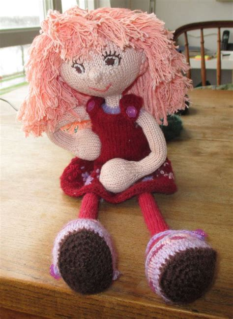 Dress Up Doll Knitted Knitted Rag Doll Handmade Doll