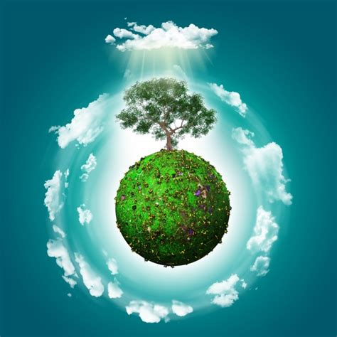 green world green world with a tree background photo free