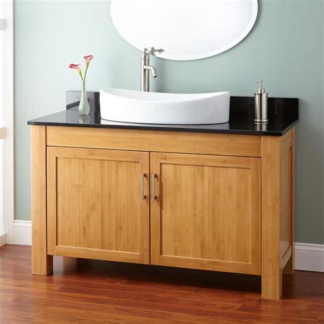 narrow bathroom sink vanity 48 quot narrow depth bashe bamboo vessel sink vanity bathroom