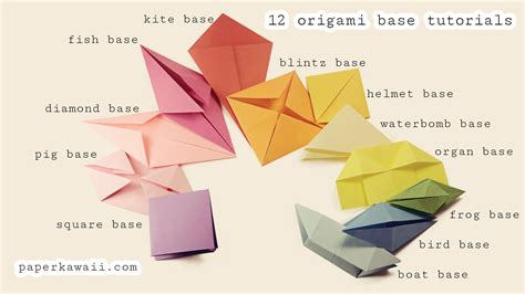 origami in origami base folds for beginners paper kawaii