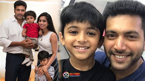 with photos actor jayam ravi family photos with aarthi sons