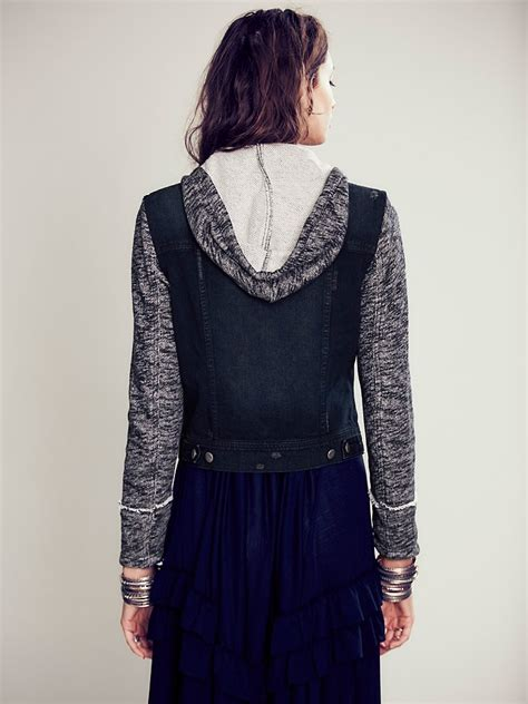 free knit hooded denim jacket free knit hooded denim jacket in black lyst