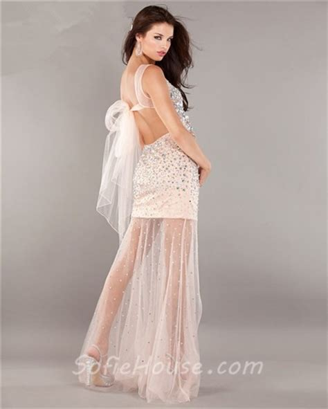 backless beaded prom dress fashion illusion neckline backless satin tulle beaded
