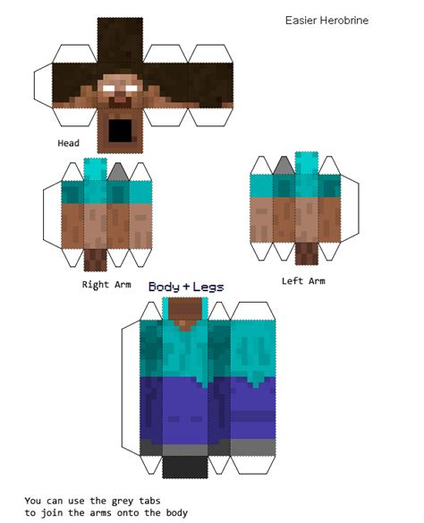 pixle paper craft papercraft easier herobrine
