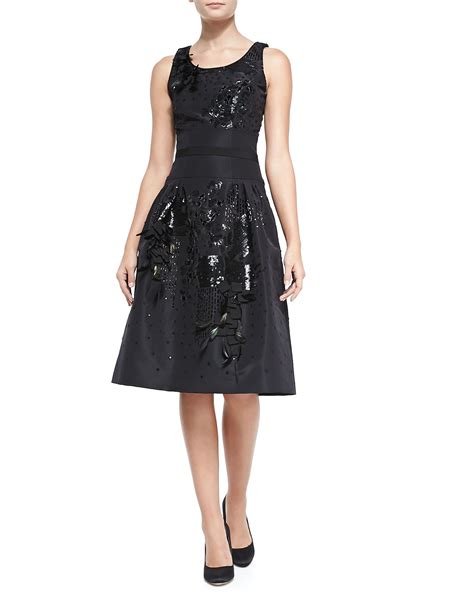 black beaded dress carolina herrera beaded embroidered cocktail dress in