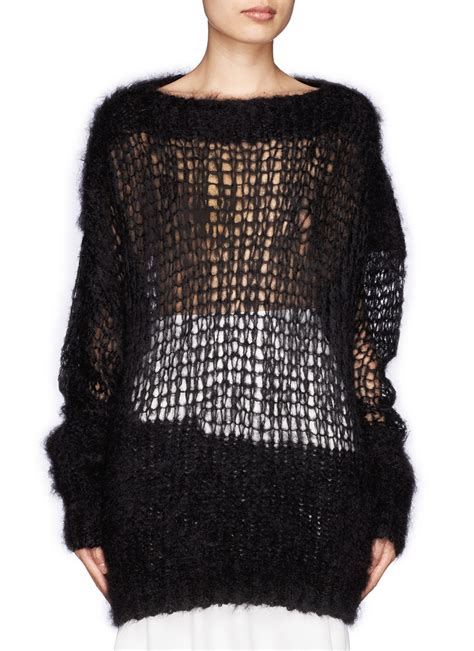open knit sweater acne studios mohair open knit sweater in black lyst