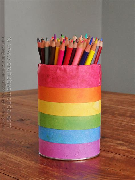 pencil holder craft ideas for rainbow pencil holder can crafts by amanda