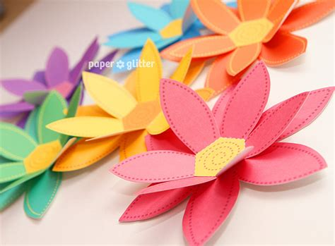 paper craft of flowers paper flowers rainbow paper craft set 2 sizes by paperglitter