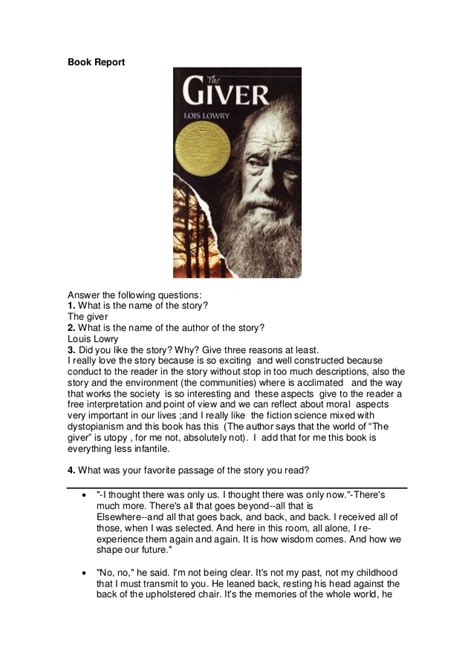 the giver book pictures book report quot the giver quot