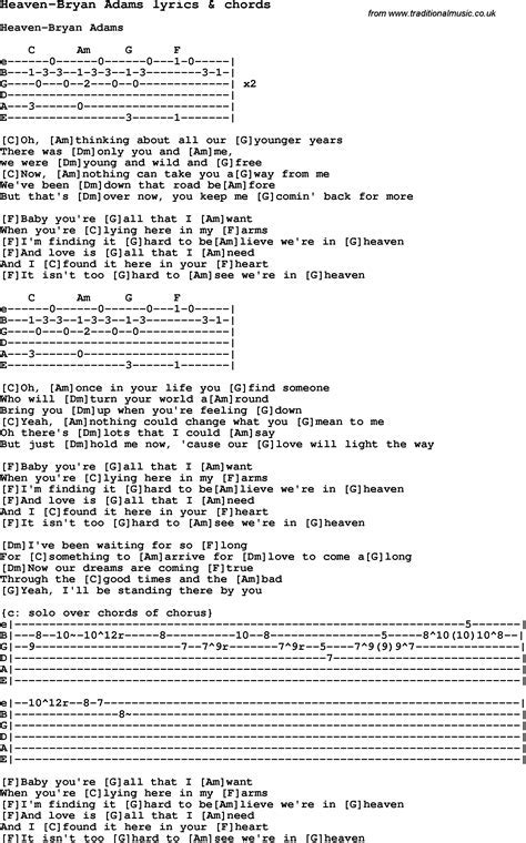 Bryan Adams Heaven Guitar Chords Image collections - guitar chord ...