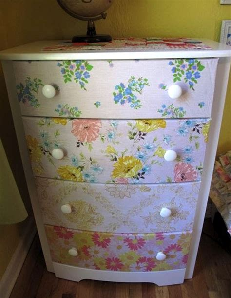 decoupage with fabric dresser repurposed with vintage sheets mod podge rocks