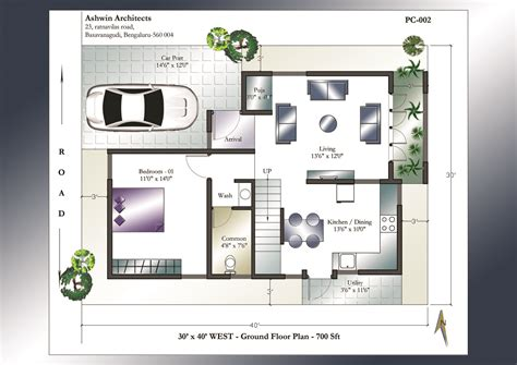 house plan 30 x 40 house plans 30 x 40 west facing house plans