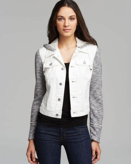 free knit hooded denim jacket free jacket denim and knit hooded in white ivory