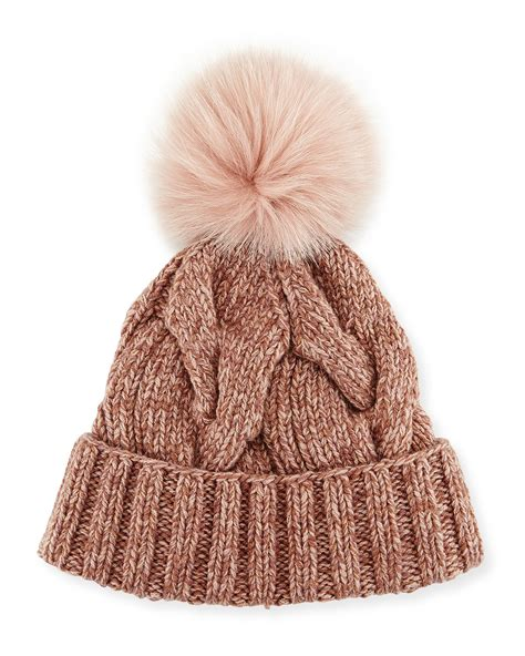 knit hat with pom loro piana cable knit fur pom pom hat in brown lyst