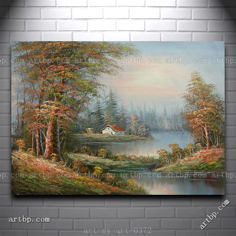 acrylic paint for large canvas painting of landscape house trees on field by river