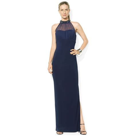 beaded halter gown by ralph beaded halter illusion gown