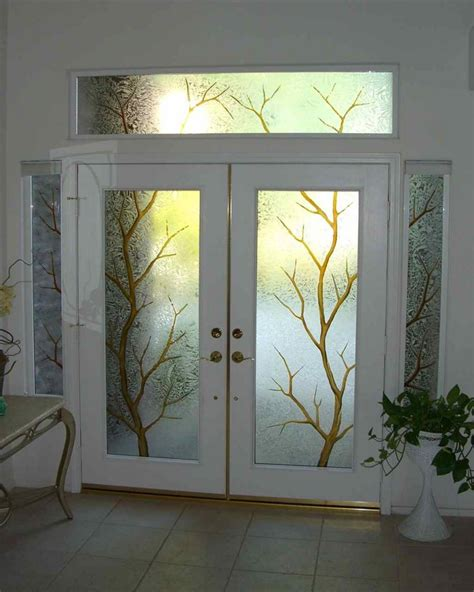 decorative etched glass entry door window trees