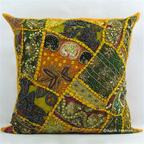 beaded decorative pillows yellow indian beaded embroidered patchwork accent throw