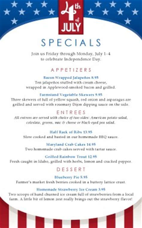 4th of july specials menu 4th of july menus