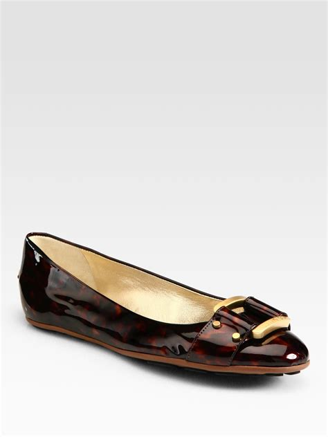 patent leather ballet flats jimmy choo moorse tortoiseprint patent leather ballet flats in black tortoise lyst