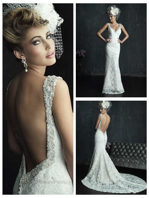 low back beaded dress beaded straps plunging neckline wedding dresses with low