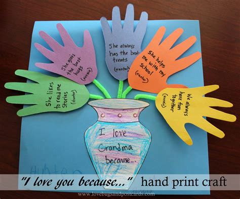 mother s day quot i love you because quot hand print craft