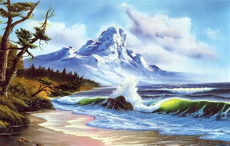 bob ross painting wallpaper 1920x1080 wallpaper mountain picture wave snow painting shore