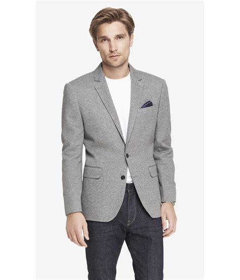 knitted blazers express knit blazer in gray for lyst